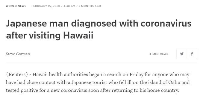 Japanske turister rejser til Hawaii og vender hjem smittet med coronavirus