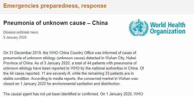 44 patienter med lungebetændelse af ukendt etiologi rapporteret til WHO