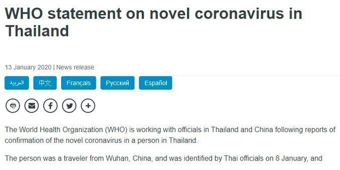 CoVid-19 in Thailand -the first registered case outside China