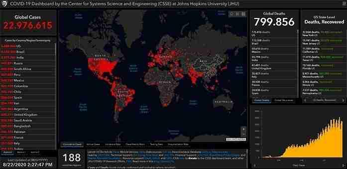 Real time COVID-19 map - Johns Hopkins University